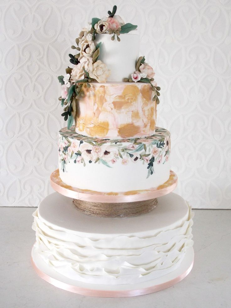 Beautiful wedding cake inspired by the clients invitation.