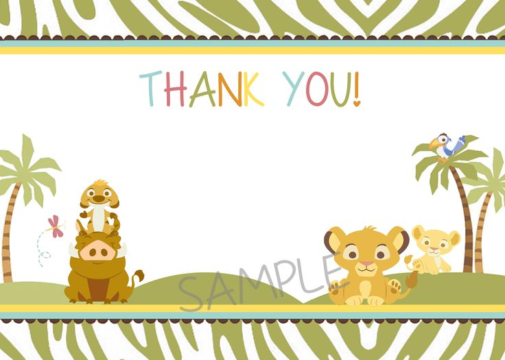 123 best simba lion king baby shower invitation and supplies images simba lion king baby shower thank you card green filmwisefo Choice Image