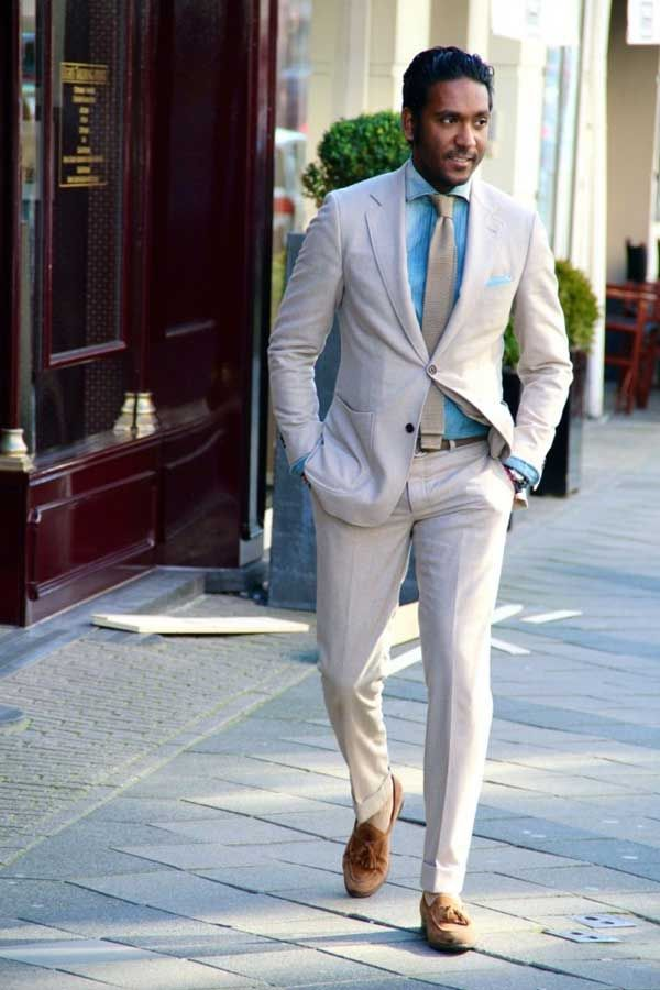 Fresh & Crisp for summer...Brownish white with powder blue shirt, tan tie and complete with brown slip-ons