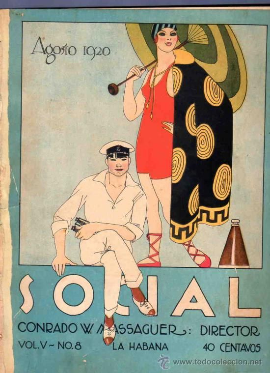 Vintage Cuban magazine. Revisita Social. Every day life in Cuba 1920s