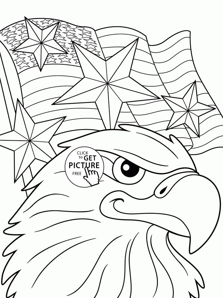Eagle and Independence Day of America coloring page for kids, coloring pages printables free - Wuppsy.com