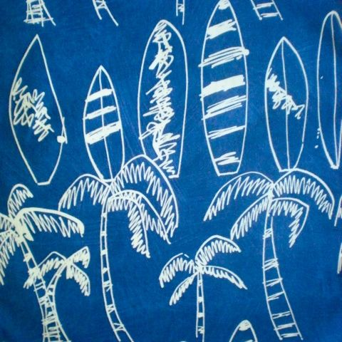 Love this fabric surfboards & palms. Light weight fabric suitable for cushion covers & curtains in your camper/caravan. Also so cool for teenagers room. available at www.retrohomefabrics.com.au