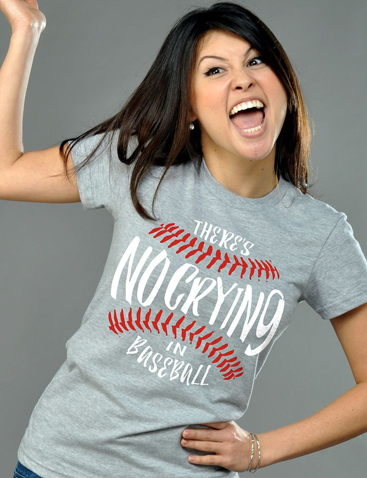 """There's No Crying in Baseball"" grey graphic t-shirt"