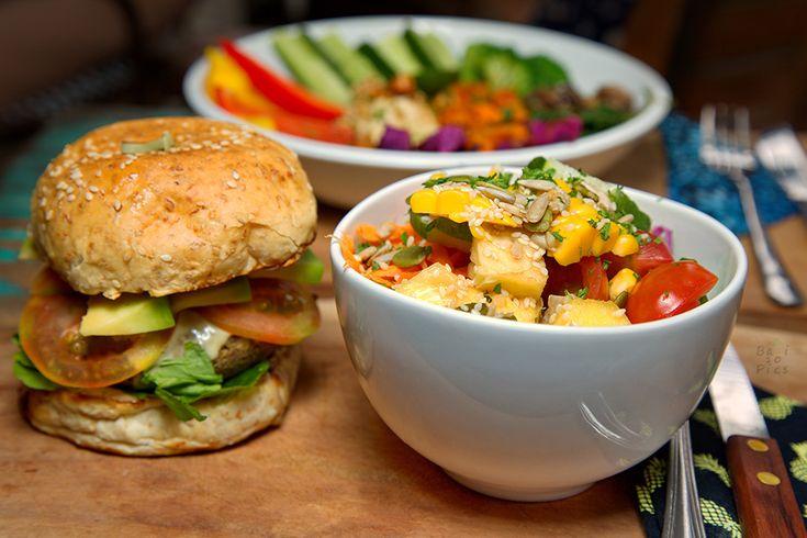 Vegan burger and salad in Bali #Veganfood