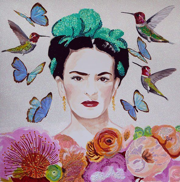 ASHLEY LONGSHORE - Frida With Succulents and Butterflies and Hummingbirds