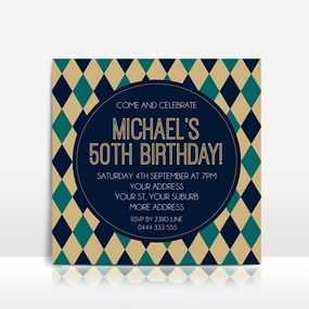 Men's golf style geometric birthday invitation
