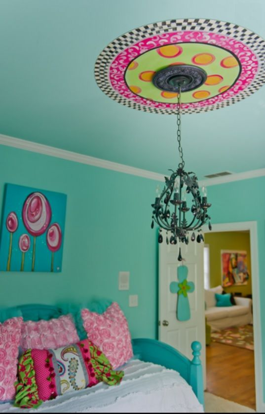 Although we cant do a chandelier due to the air/heat vent, we could spruce it up a bit. Great design for tweens bedroom