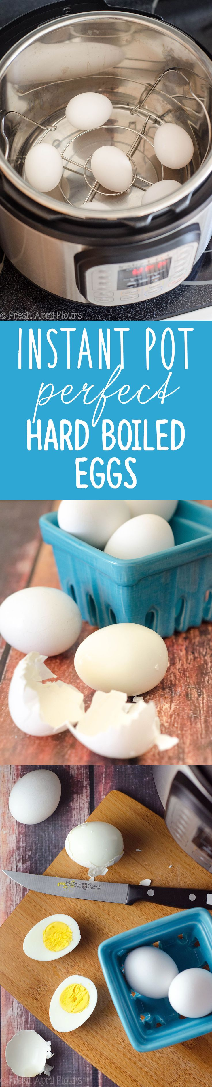 Instant Pot Perfect Hard Boiled Eggs: The 7-7-7 rule gets hard cooked eggs that are easy to peel and the perfect texture every time! via @frshaprilflours