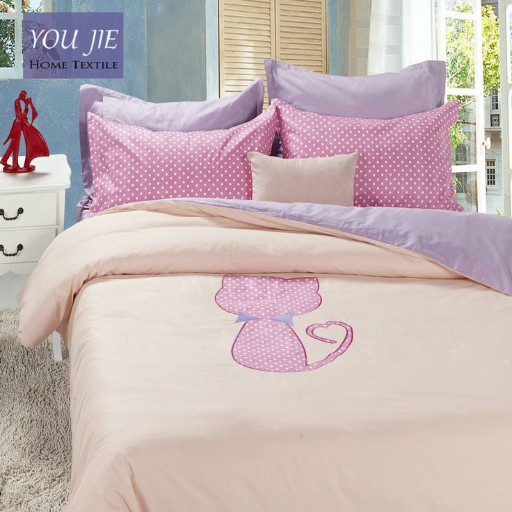 Cheap cotton bed linen, Buy Quality bed linen directly from China lavender bed sheets Suppliers: 100 Cotton Pink Cat Bedding Set Lavender Bed Sheets Embroidered Duvet Cover  Queen Comforter Sets King Cotton Bed Linen