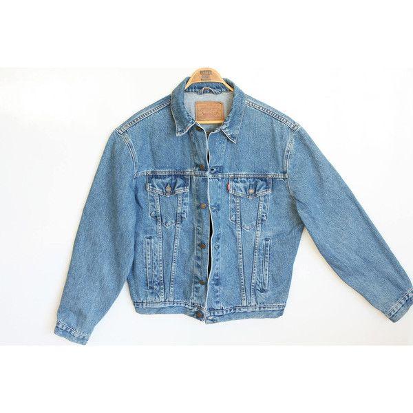 Vintage LEVIS Jacket L Oversized Jean Jacket 80s 90s Grunge Unisex... ($115) ❤ liked on Polyvore featuring men's fashion, men's clothing, men's jeans, mens rolled jeans, mens adjustable waist jeans, mens flap pocket jeans, mens denim jeans and mens jeans