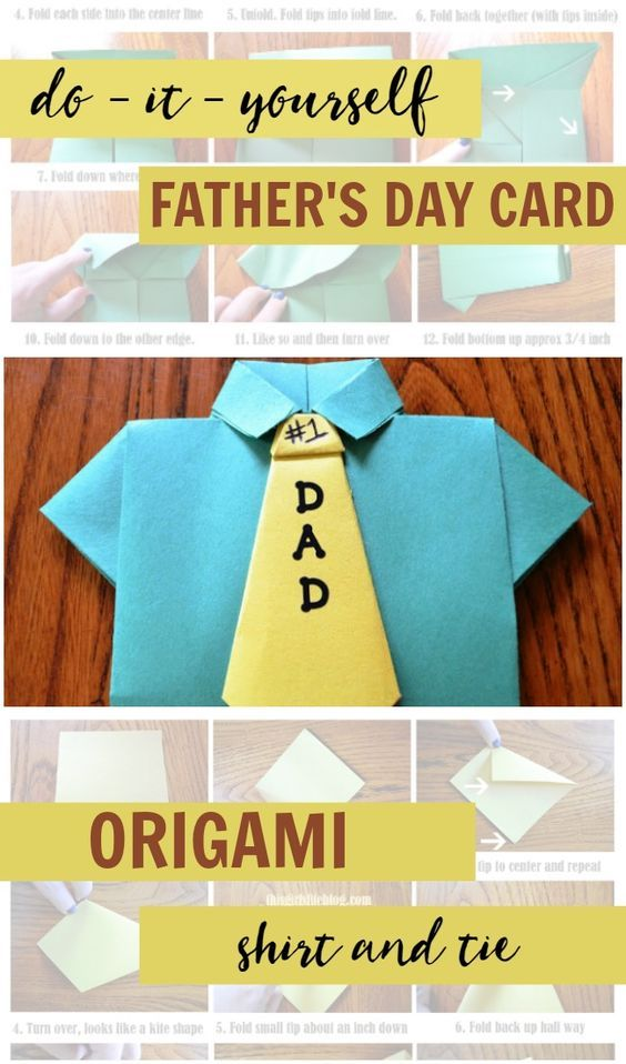 Create this super simple DIY Father's Day Card for dad this year. Easy craft for kids that only requires two pieces of construction paper.