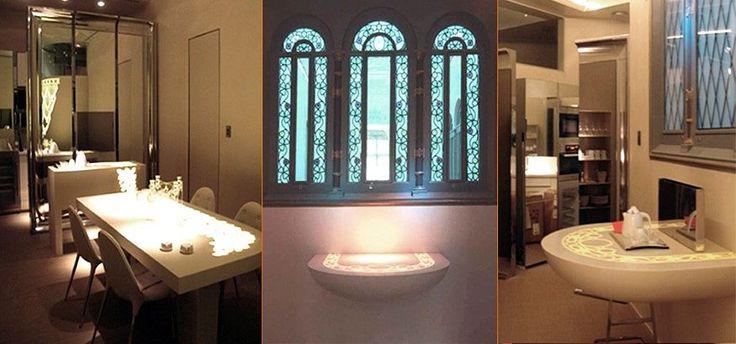 Mesa de comedor y cónsola de entrada retroiluminadas realizadas en LG Hi-Macs®. Diseño exclusivo.