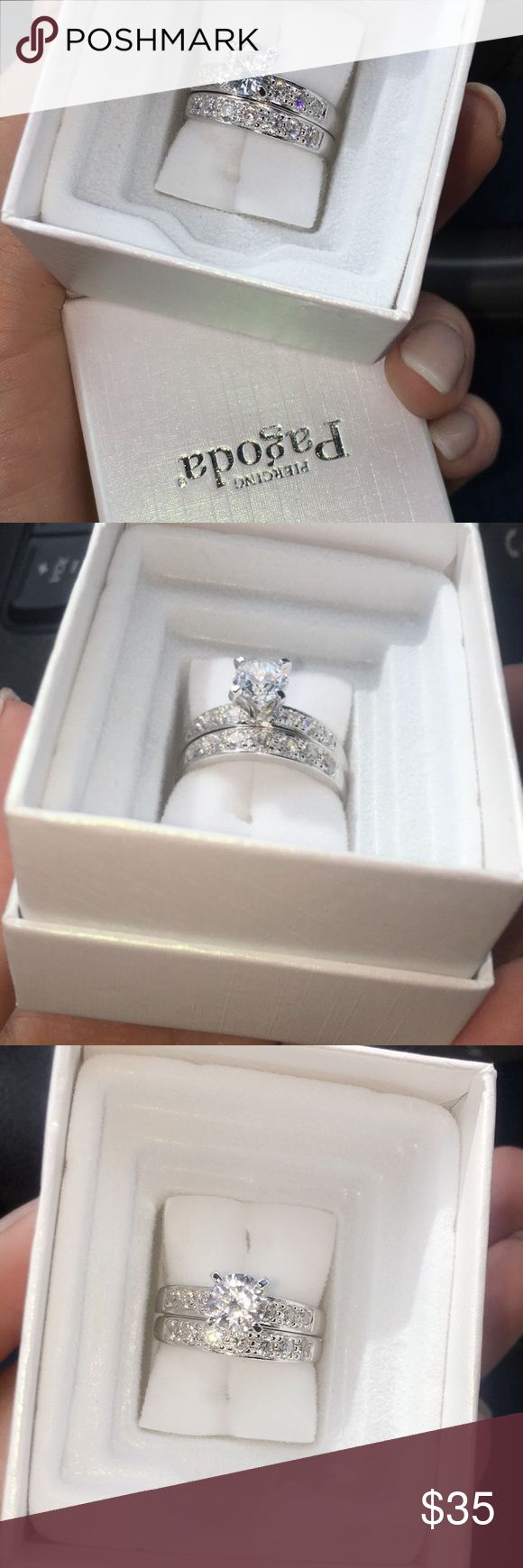 Brand New Piercing Pagoda Bridal Set brand new, never worn. tried to exchange it because my boyfriend bought me a size too big but he paid cash and doesn't have the tag on it :( NOT tiffany, just for exposure Tiffany & Co. Jewelry Rings