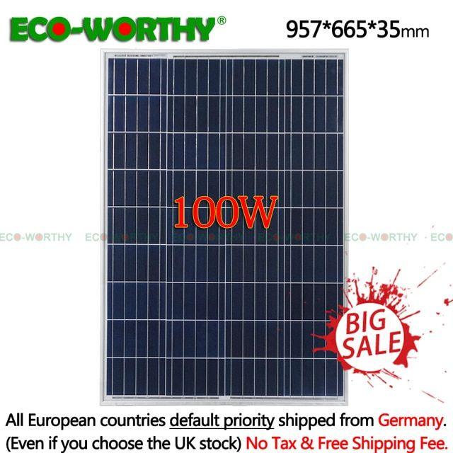 100w 18v Polycrystalline Solar Power Panel For 12v Battery Charger Grid System For Home Light 1000w Solar Pan Solar Power Panels Off Grid Solar 12v Solar Panel