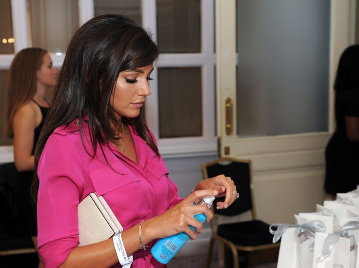 Newlywed Michelle Keegan tries out the SBC Camphor & Menthol massage gel in the gifting lounge.