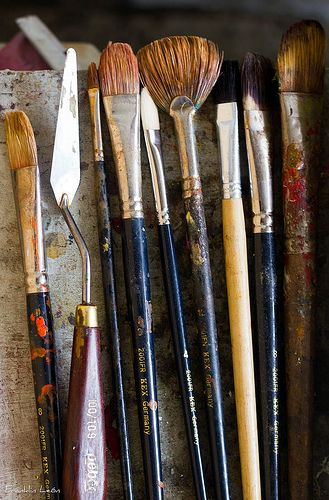 My paintbrushes and studio tools are like old friends: sometimes we lose touch, and as we grow older they lose their hair as mine turns gray, but they're always there for me, so I give them the best care, and never leave them standing in liquid.