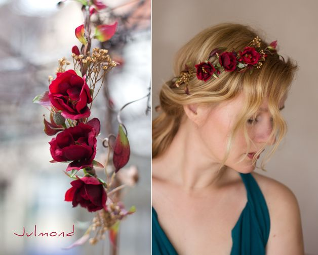 Haarkranz Brautkranz Blumenkrone flower rot *rouge von Julmond auf DaWanda.com