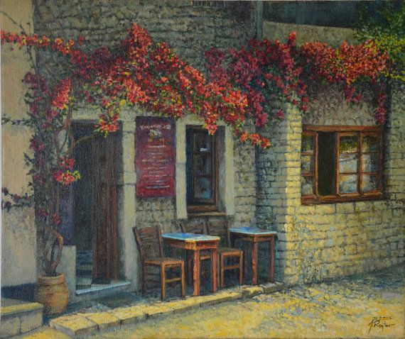 Old Cafe impressionist oil painting by JRajtar on Etsy