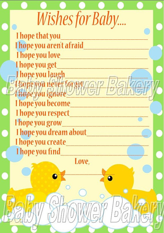 rubber duck baby shower game  wishes for baby card  rubber duck theme baby shower  printable
