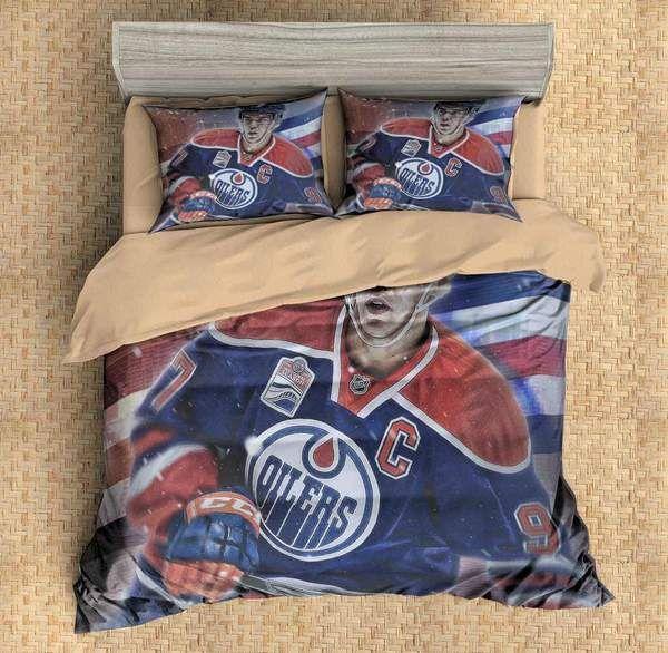 3D Customize Connor McDavid Edmonton Oilers Bedding Set Duvet Cover Set Bedroom Set Bedlinen