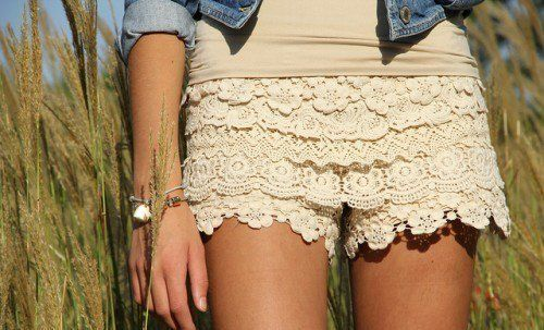 """cover old shorts in lace"" cute idea!"