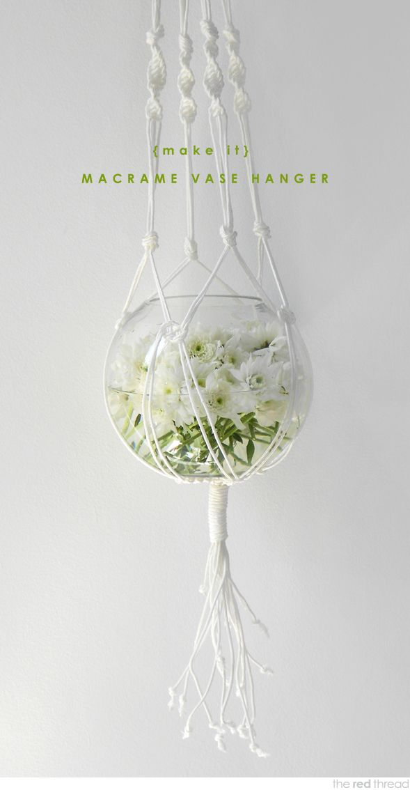 Tutorial to make a macrame hanging vase or planter | The Red Thread