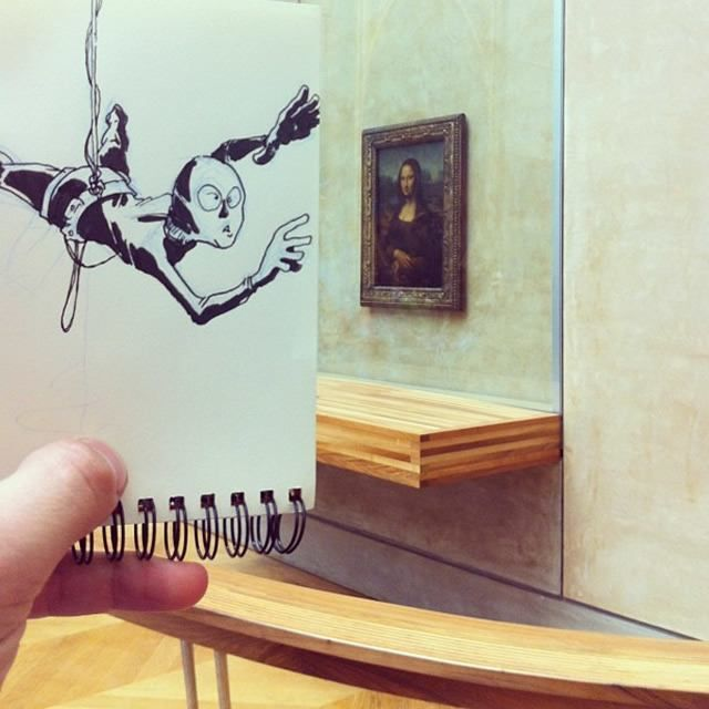 The Mona Lisa Thief  18 Creative & Arty Cartoon Bomb Drawings That Will Leave You Amazed • Page 4 of 5 • BoredBug
