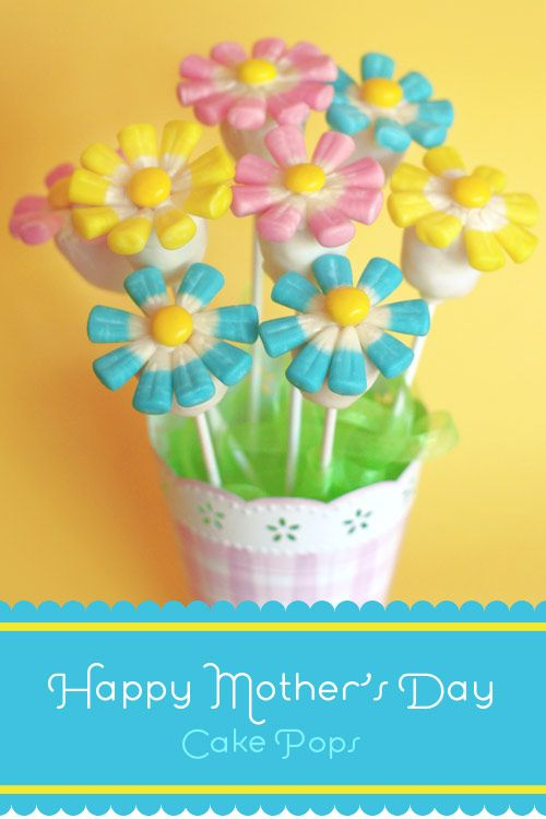 Mom and Pops - Flower cake pops Make an oval cake ball with one end flat, dip in coating, let dry, then attach Easter candy corn or Good n Plenty candies as petals with melted chocolate. Finish with a lemon drop or M & M as the center. This picture shows them stuck in foam in a flower pot. Cute!