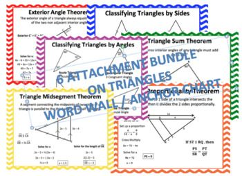 This Bundle Includes: 6 pages of Geometry Triangles including: 1 Classifying Triangles by Sides 1 Classifying Triangles by Angles 1 Triangle Sum Theorem 1 Triangle Midsegment Theorem 1 Triangle Proportionality Theorem 1 Exterior Angle Theorem It states the formula/definition and picture/example all on 1 page for