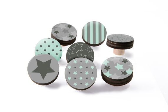 Mint and Grey Dresser Knobs Stars design, wood Knobs  1.8 inches, Mix and Match-You choose which designs, Perfect for your Little Nursery