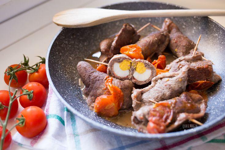Involtini di carne con prosciutto e uova