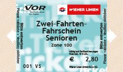 Wiener Linien Online Shop - Produkte: 2 journey ticket for senior citizens