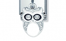 Nomination Stainless Steel and Sterling Silver Owl with Cubic Zirconia and Enamel Charm
