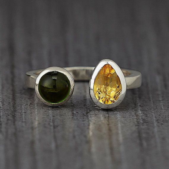 Tourmaline Citrine Two Stone Silver Ring - Stacking Ring