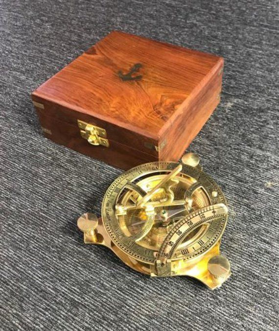 Solid Brass Sundial Compass Nautical Decor Maritime Gift