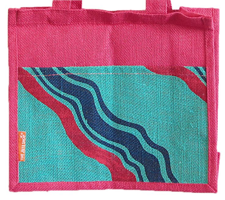 Hand Painted Jute Shopping Bag with Two Open Pocket (Jute)