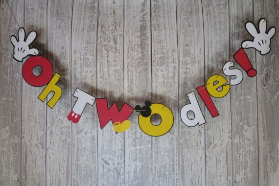 Oh TWOdles Banner, FREE US SHIPPING, Mickey Mouse Theme Party, 2nd Birthday Party, Mickey Mouse Clubhouse Theme Party