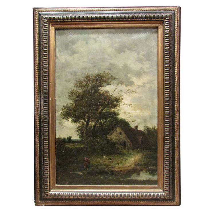 19th Century Painting Oil on Canvas Barbizon School Signed French Pastoral Scenery | From a unique collection of antique and modern paintings at http://www.1stdibs.com/furniture/wall-decorations/paintings/