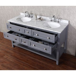 Stufurhome Marla 60 inch Double Sink Bathroom Vanity with Mirror in Grey - Free Shipping Today - Overstock.com - 17580567 - Mobile