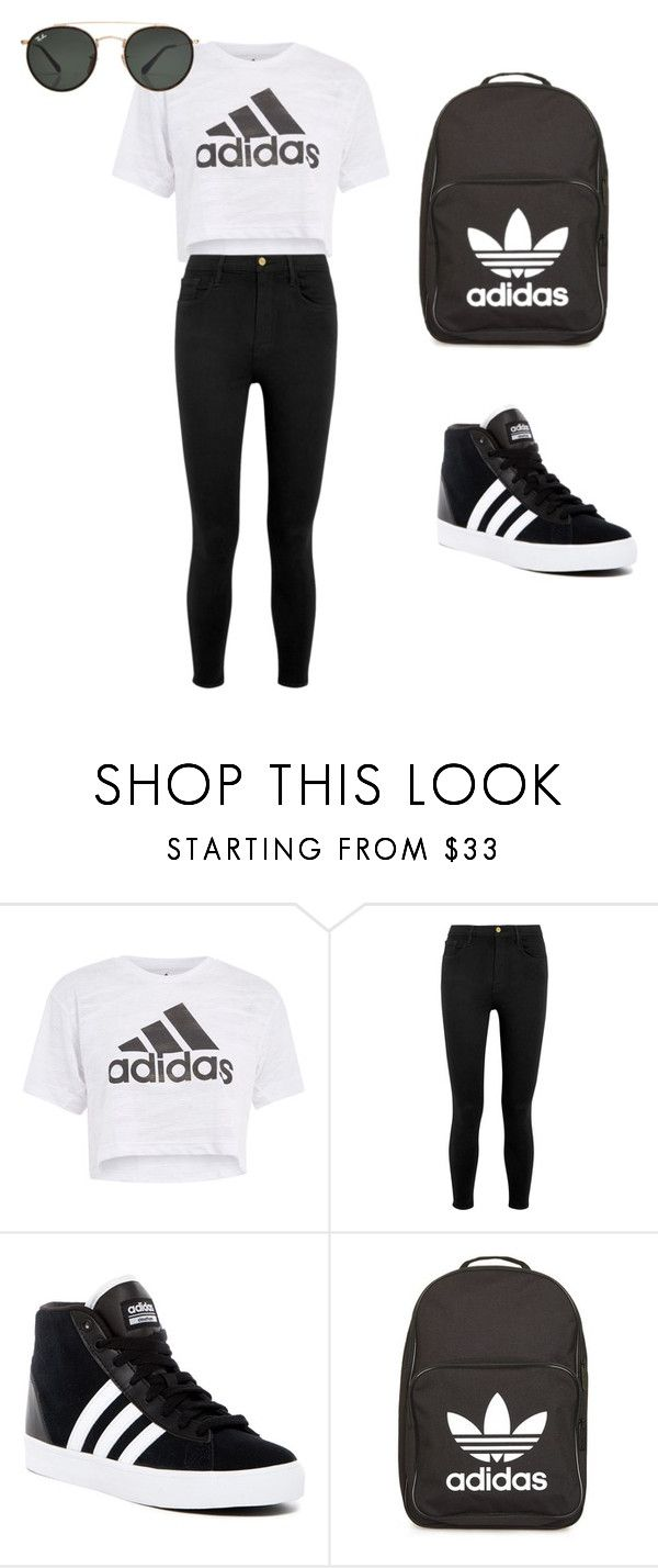"""Adidas outfit"" by thisisnotjs on Polyvore featuring Topshop, Frame, adidas and Ray-Ban"