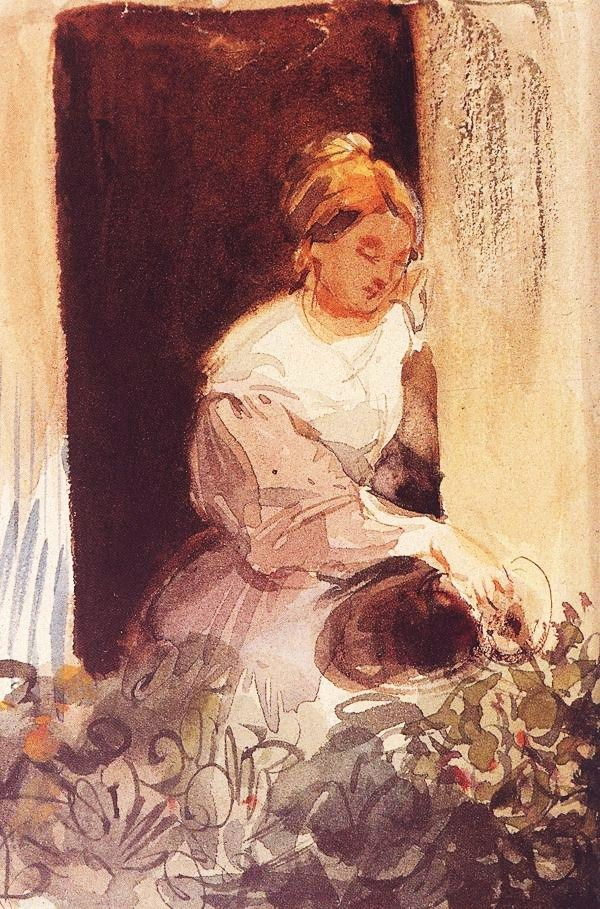 """""""Young Woman Watering a Plant by the Window"""" by Karoly Brocky (1807-1855)"""