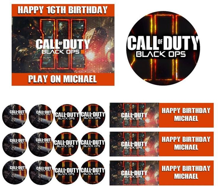 CALL OF DUTY Black Ops 3 Birthday Cake Frosting Edible Image Toppers, Cupcakes, Sides, Thank You Cards or Invitations by WilsonCakeImaging on Etsy