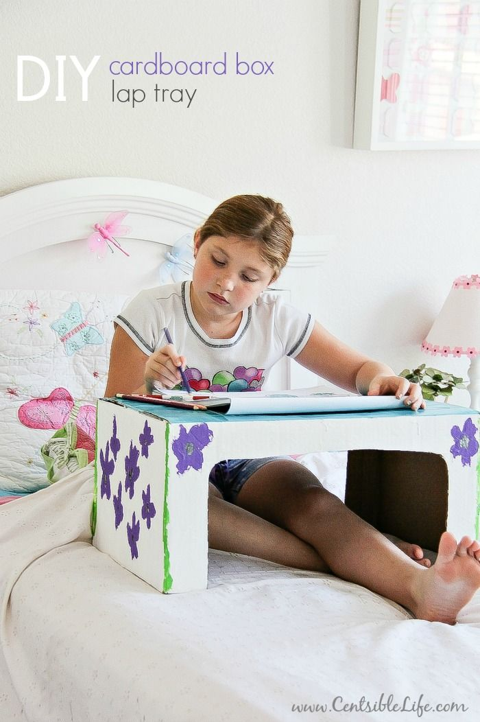 This DIY cardboard box lap tray craft project is perfect for kids and a great way to use empty boxes from package deliveries.