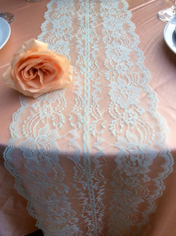 5ft Mint Lace Table Runner 8in Wide x 60in Long, Mint Wedding Decor, Lace Overlay, Rustic Weddings