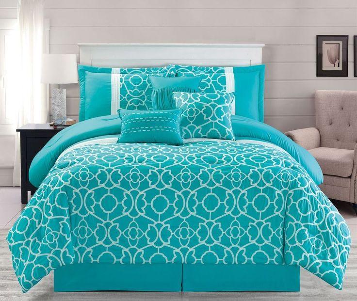 7 Piece Ladera Aqua Comforter Set #KingLinen #ContemporaryModernTraditionalPatternedFloral
