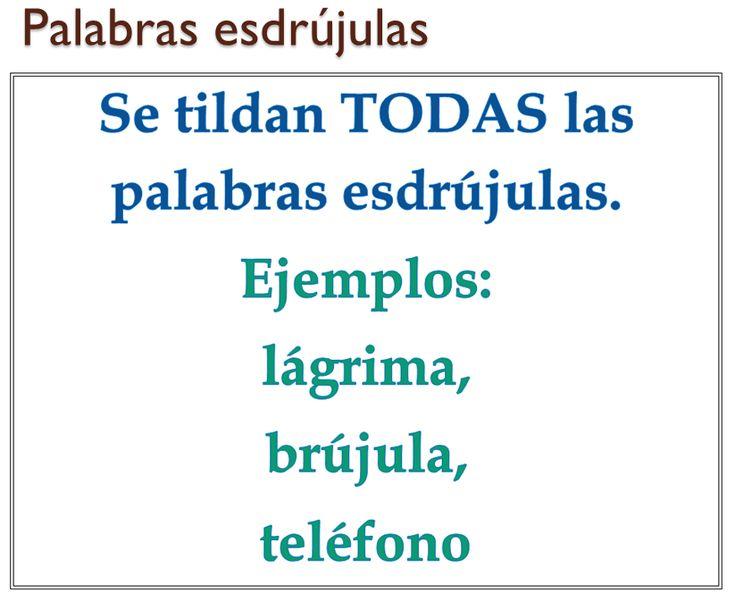 Regla para el uso de la tilde (acento ortográfico) en las palabras esdrújulas. Las palabras esdrújulas son aquellas que tienen la sílaba tónica en el antepenúltimo lugar. Bilingual Education