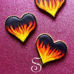 These cookies are on fire! ❤Learn all about decorating cookies with royal icing in my new book! Order your copy at SweetAmbs.com {link in bio} #ValentinesDay #sweetambscookies #cookieart