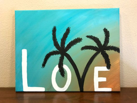 Love Hand Painted Canvas, Palm Tree Canvas, Beach Love Canvas, Blue Painted Canvas, Painted Canvas