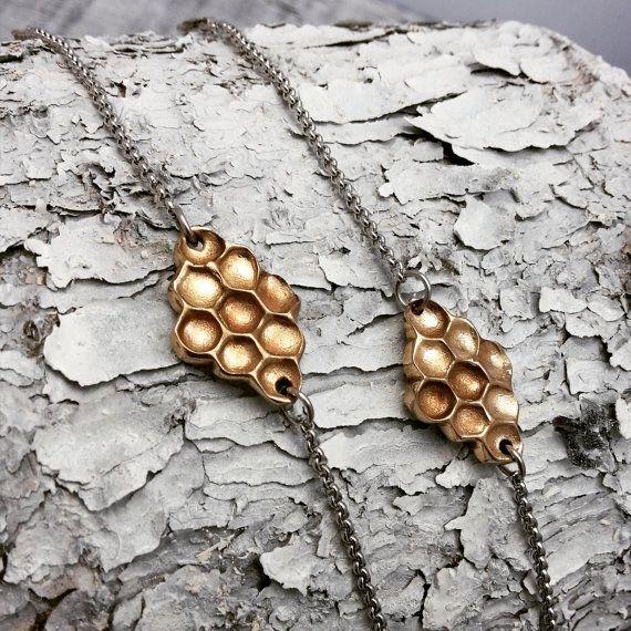 Bracelet Rayons de Miel - Bracelet Bronze - Rayons de Miel - Abeilles - Nid d'abeilles - Miel - Bijoux Nature - Ruche - Rustique