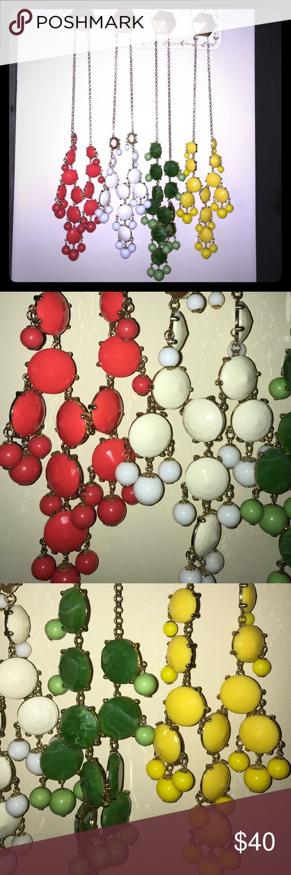 4 franchescas necklaces Green, yellow, coral and white long bubble necklaces sold separate for $12 each or all together for $40 great condition just don't get worn anymore Francesca's Collections Jewelry Necklaces